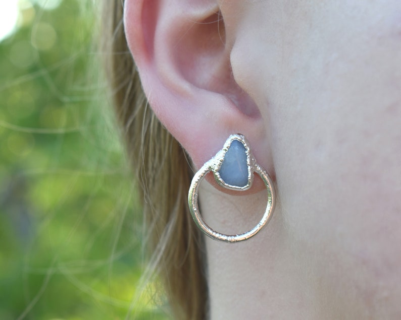 Agate Earrings Blue Lace Agate Agate Studs Blue Lace image 0