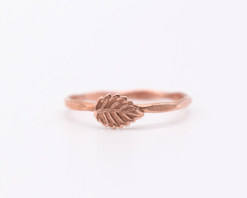 Copper Ring Band Hammered Copper Jewelry Copper Leaf image 0