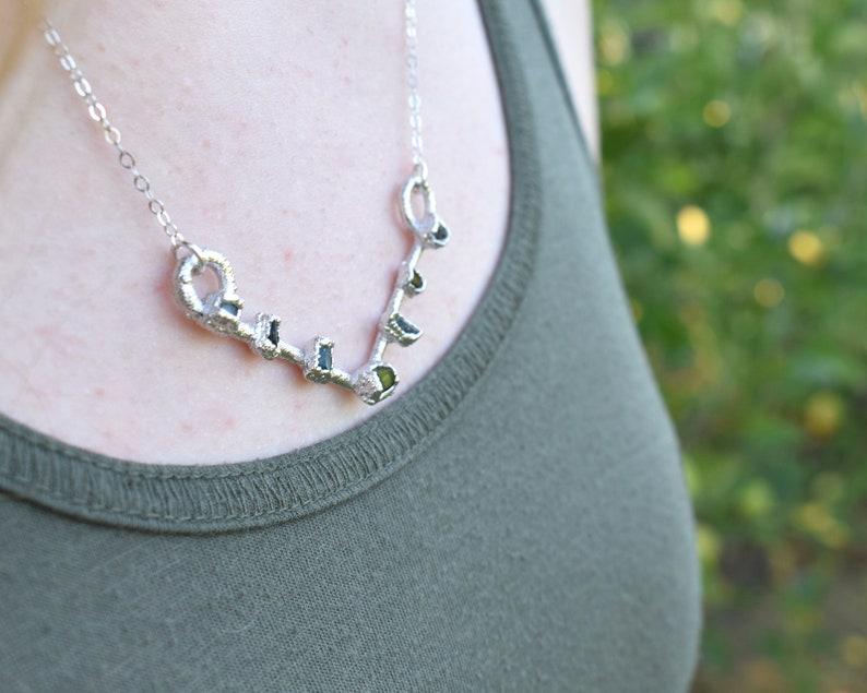 V Necklace V Necklace Silver V Jewelry Custom Birthstone image 0