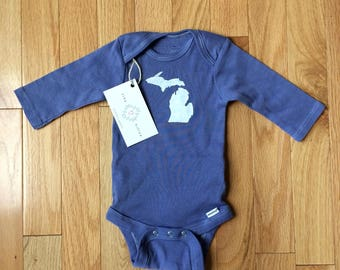 586aff74a Blue and White Michigan onesie