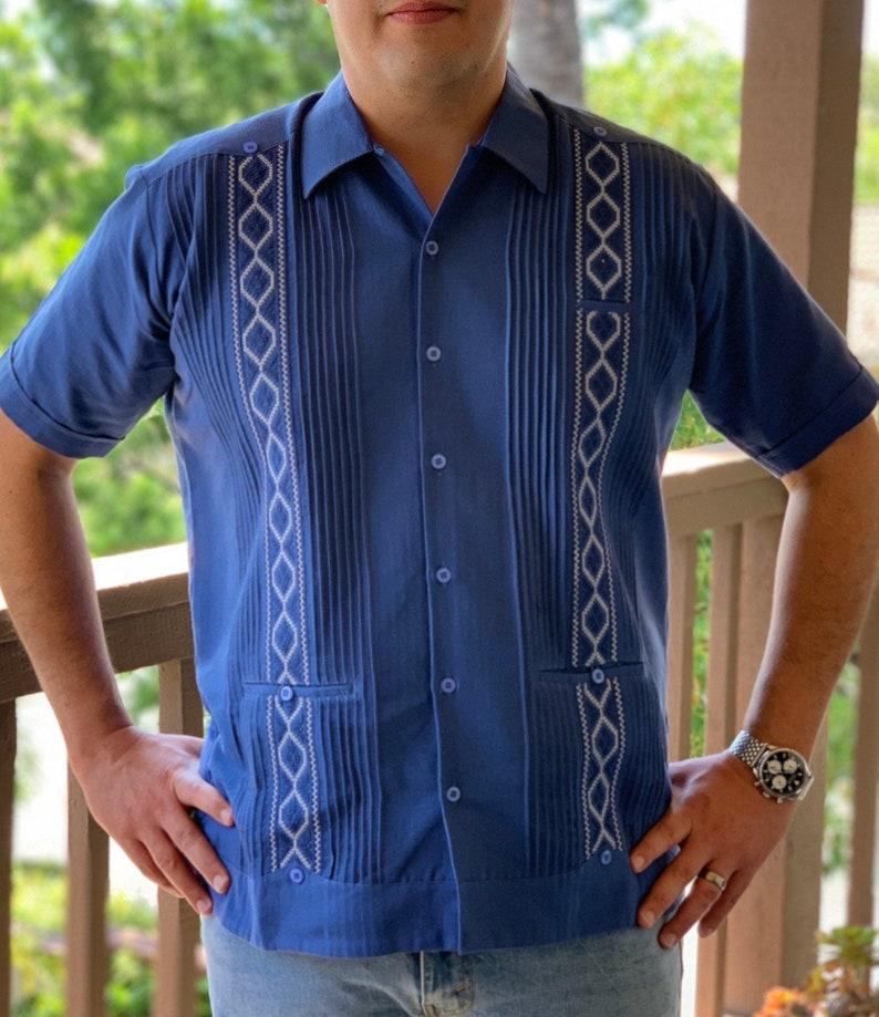 1960s Men's Clothing Men's Guayabera Royal Blue Short Sleeve Dress Shirt $70.00 AT vintagedancer.com