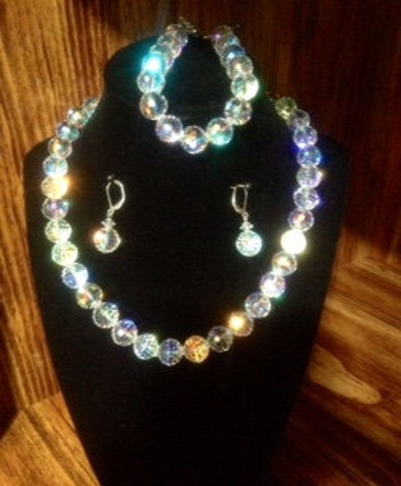 Diamond White Prism faceted Crystal Necklace,Bracelet and Earrings 3 Piece Set