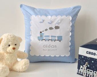 Personalized Baby pillow train design