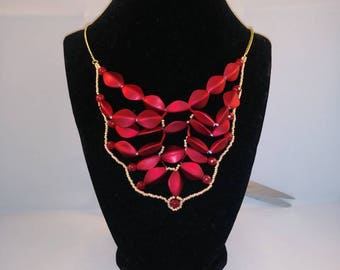 Red satin, gold, and agate bead bib necklace