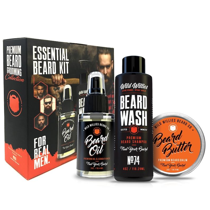 Wild Willies Essential Beard/Mustache Grooming Kit for men -Including Beard  Oil, Beard Balm, Beard Wash  For personal use or as a gift set