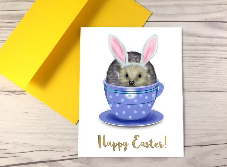 Tee Tasse Ostern Igel Karte Süße Osterkarte Frohe Ostern Etsy