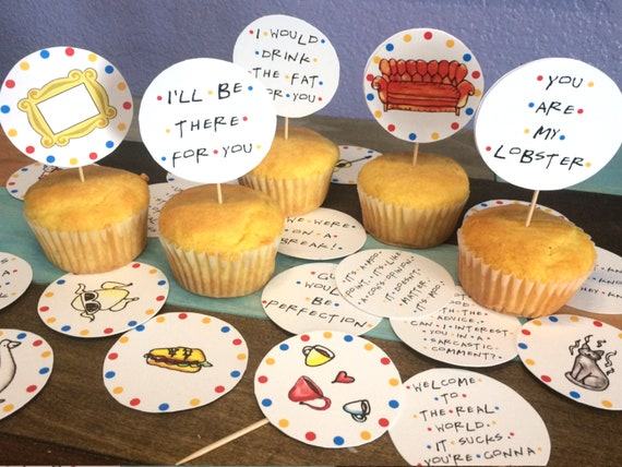 Friends TV Show Party Set of 12 Friends TV Show Themed Cupcake toppers Birthday decoration