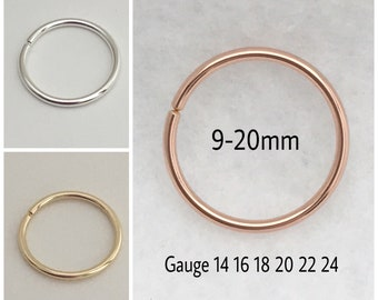 9-20mm Conch Piercing Earring Orbit Piercing Hoop Earring Lobes 14 16 18 20 22 24 Gauge Nose Ring Septum Lip Belly button ring 14k Rose Gold