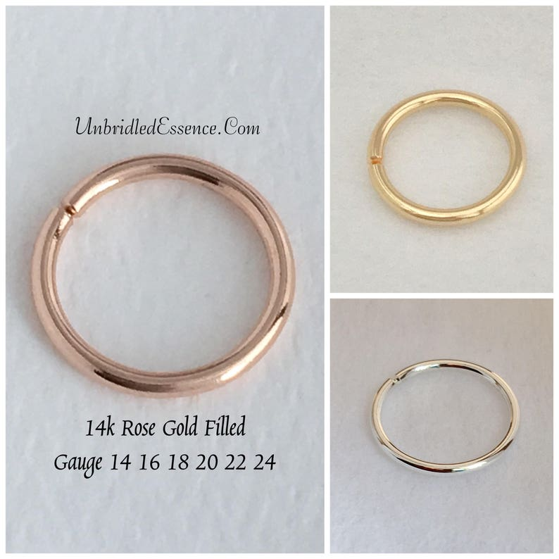 Nose piercing 20 gauge Rose Gold Nose Ring Septum jewelry Helix earring Conch piercing Cartilage hoop Rook Earring Tragus earring