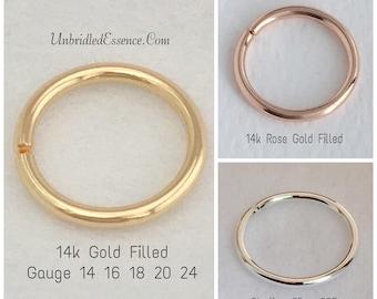 14 16 18 20 Gauge Conch Piercing Hoop Earring Orbit 14k Rose Gold Daith Septum Nose Ring Helix Lobes Rook Tragus Cartilage 9 10 11 12 15 mm