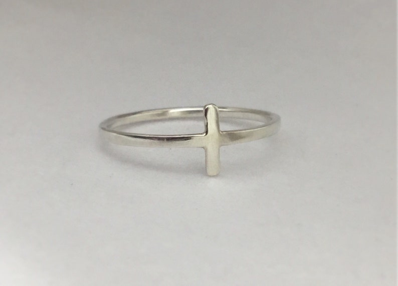 .925 Sterling Silver Simple Cross Religious Promise Ring Size 4 5 6 7 8 9 10 NEW