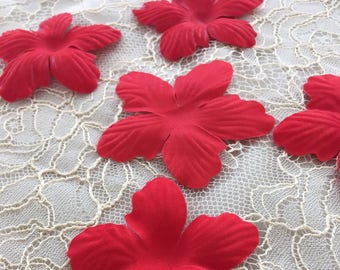 hair accessories bridal fabric flowers P0021 Red bridal fabric flowers hair pins wedding accessories bridal accessories