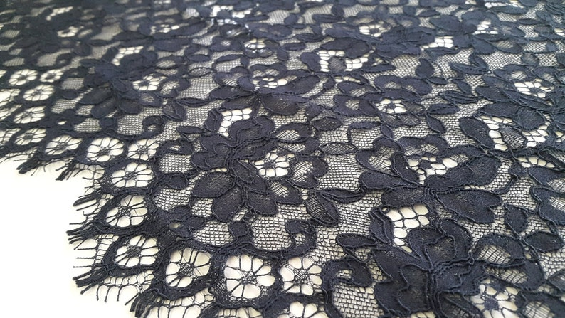 Black lace fabric Alencon Lace M000037 Bridal lace Veil lace French Lace Lingerie Lace Black Lace Wedding Lace Embroidered lace