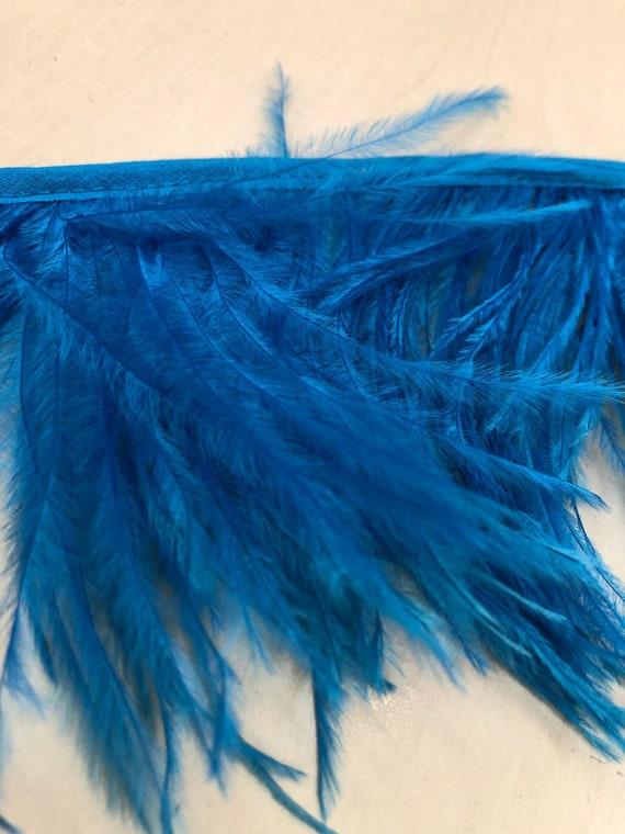 Plume d'autruche, pièce maîtresse de plume, plume plume plume, bleue, un yard de la plume, plumes, dentelle bleue, mariée dentelle, Spitze stoff d'artisanat 5d2e94
