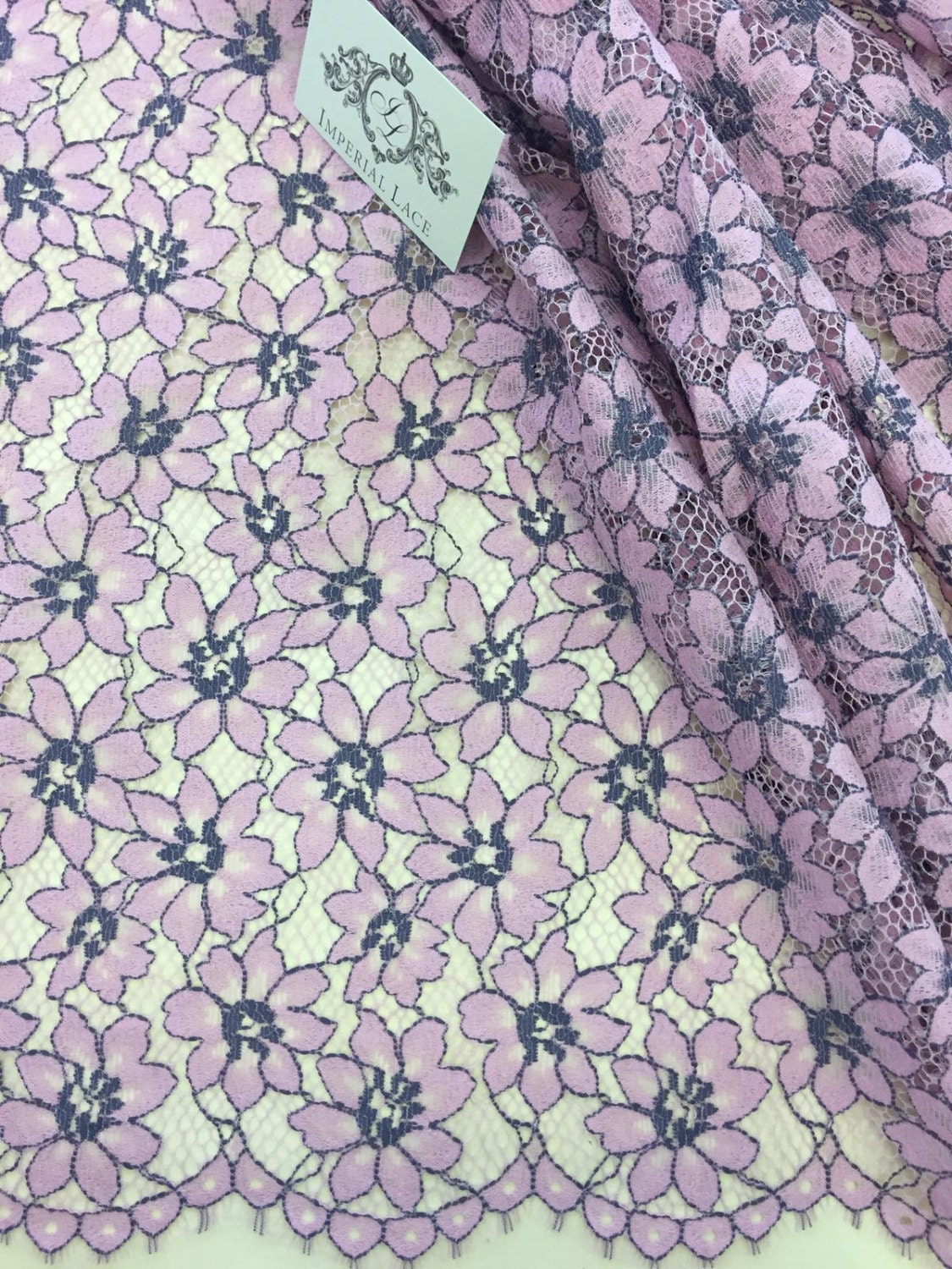 Pink lace fabric French lace Chantilly lace Wedding lace ...