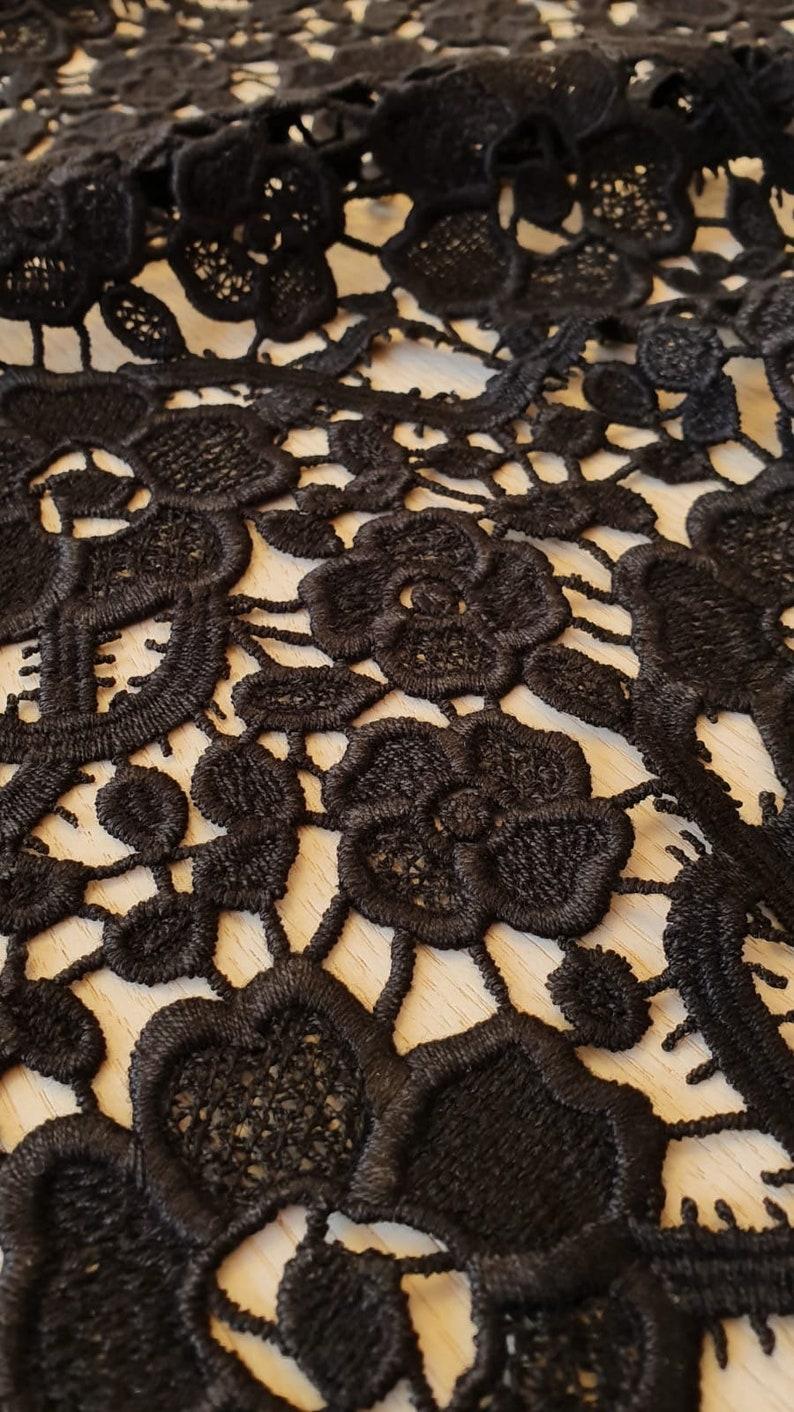 French Lace Lace fabric Wedding Lace Bridal lace Alencon Lace M00176 Macrame lace Embroidered lace Lingerie Lace Black lace fabric