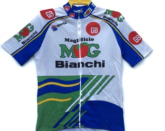 Vintage 90s Mg Boys Maglificio Bianchi Cycling Jersey  60f28d902