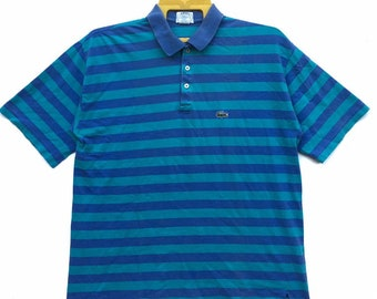 f08a325a Vintage 90s Izod Lacoste Shirt Striped Small Logo Short Sleeve Tee Made In  Usa size Large