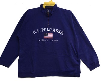 197f9c0e12a U.S Polo Assn Sweatshirts Half Zipper Embroidered Spell Out Size Large