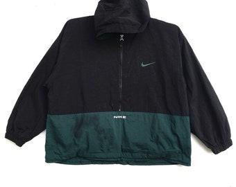 6a82ce34b6 Vintage 90s NIKE Windbreaker Hoodie Raincoat Swoosh Big Logo Half Zipper  Streetwear Sportswear Clothing Jacket Kids Medium