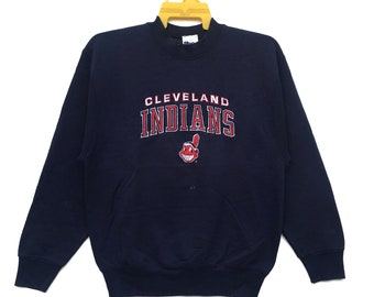 fdce03d4 Vintage 90s Cleveland Indians Sweatshirt Spell Out Pullover MLB Sweater  Crewneck Size Medium