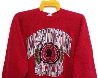 0469a9aa Vintage 80s Washington State University Sweatshirts Big Logo Spell Out Sweater  Large Size