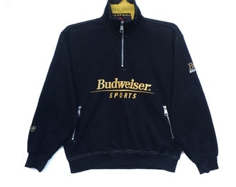 budweiser sweatshirt spell out half zipper sports jumper sweater size medium