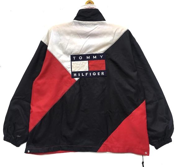 Tommy Cross XLarge Jacket Block Colour Hilfiger 90s Windbreaker Vintage Flag Size Zipper Wx4XHn7q