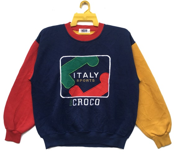 b1e3729cd5135 Rare!! COCCO CROCO Sweatshirt Spell Out Colour Block Nice Italy Design Long  Sleeve Sweater Crewneck Size Large
