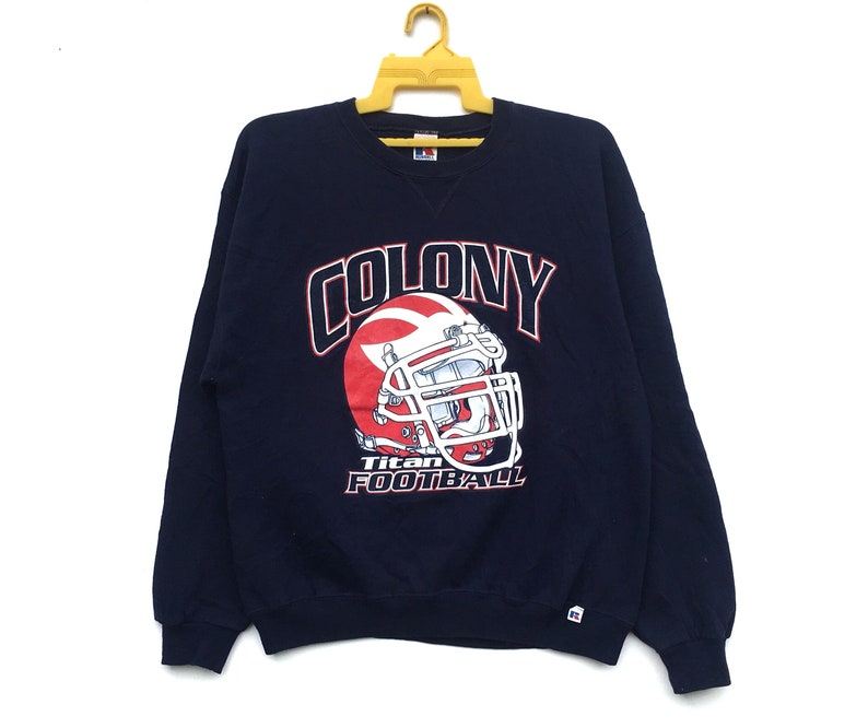 866d1226 Vintage 90s Colony Titan Football Sweatshirt High School Big Spell Out  Sweater Size Large