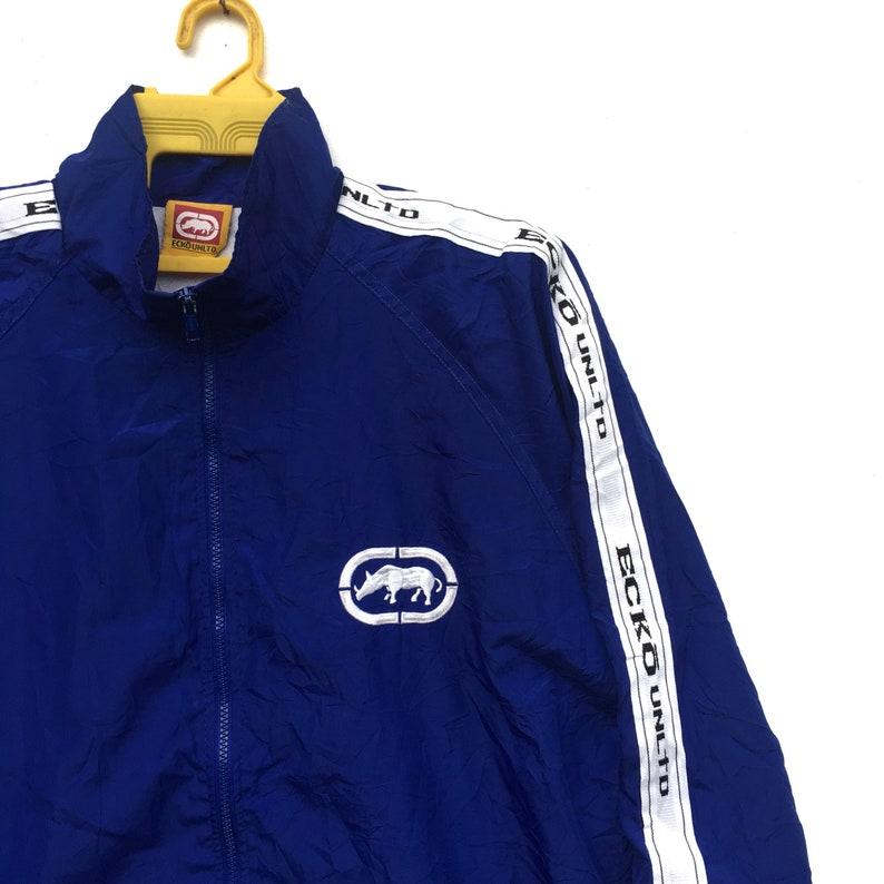 Rare! ECKO Jacket Side Tape Ecko Unltd Small Logo Spell Out Hip Hop Zipper Jacket Long Sleeve Sweater Size XLarge
