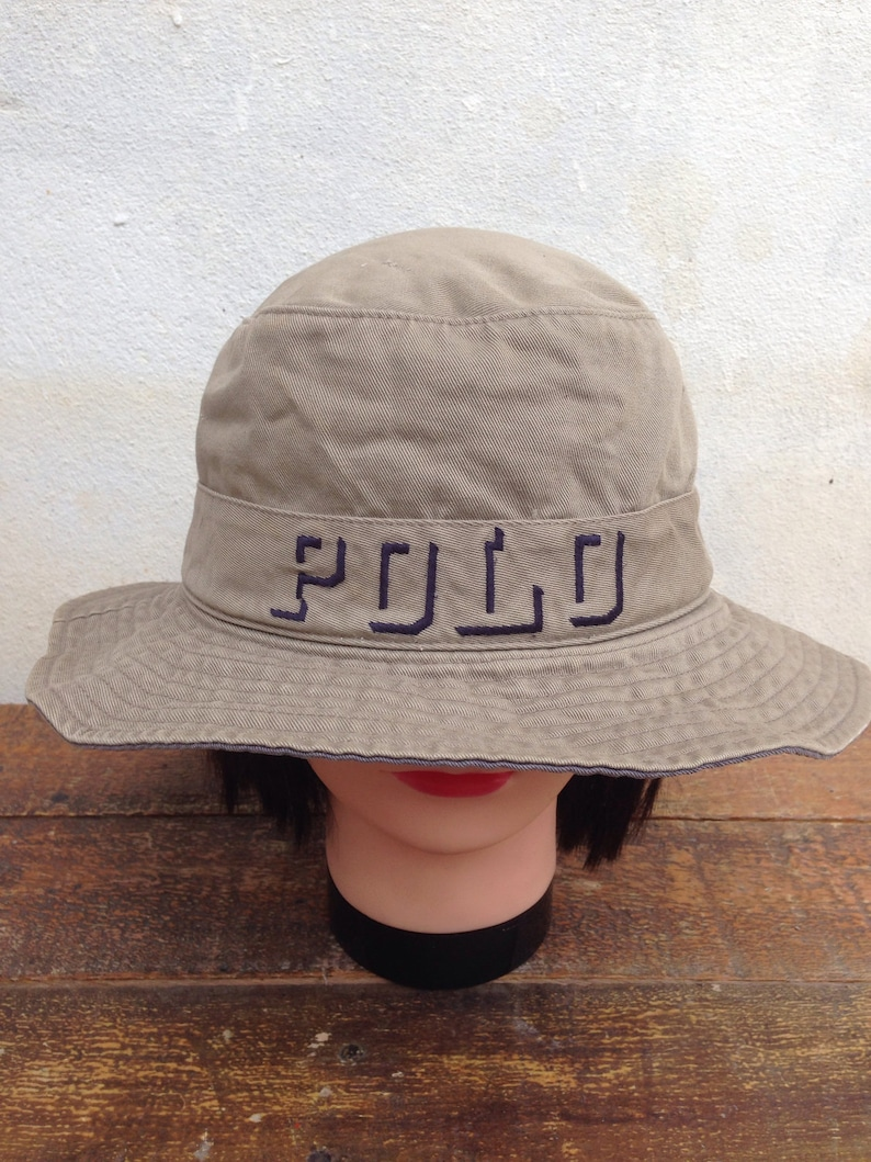 43970bfe02543 Vintage 90s POLO Bucket Hats Cap by Ralph Lauren Spell Out