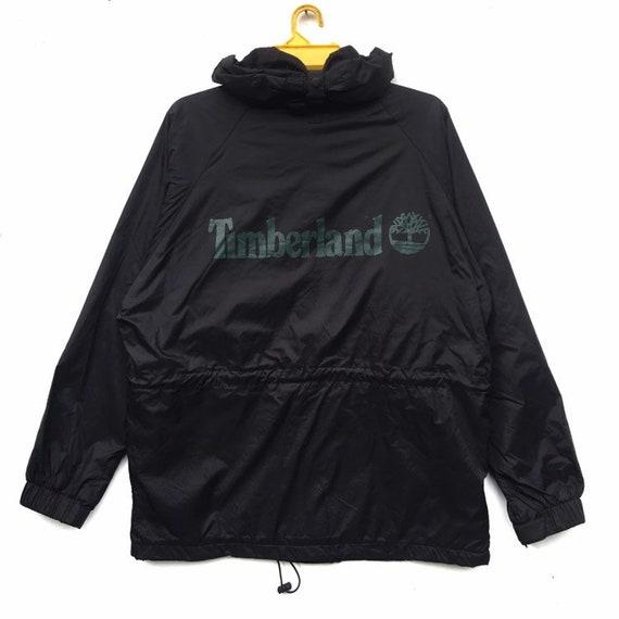 Timberland Jacket Hoodie Full Zip Windbreaker Big Spell Out Raincoat Weather Gear Clothing Sweater Saiz Medium