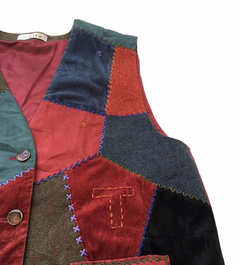 Vintage 80s Vita Vest Patchwork Stich Multicolour Fashion Style Designer Pop Art