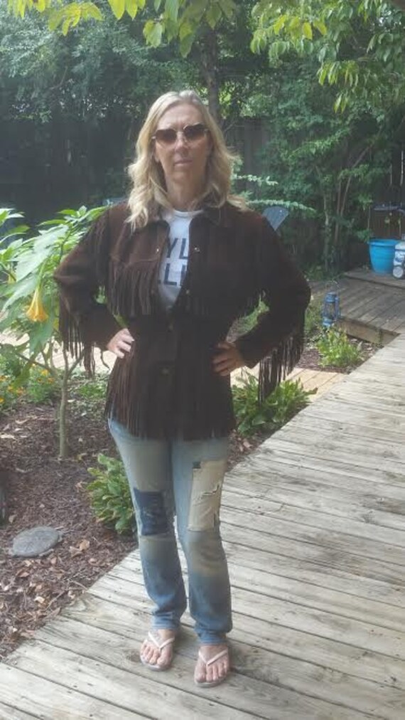 Vintage Brown Suede Fringe Jacket - Vintage Suede… - image 3