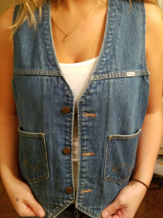 Vintage Wrangler Denim Vest - Denim Vest - Wrangle