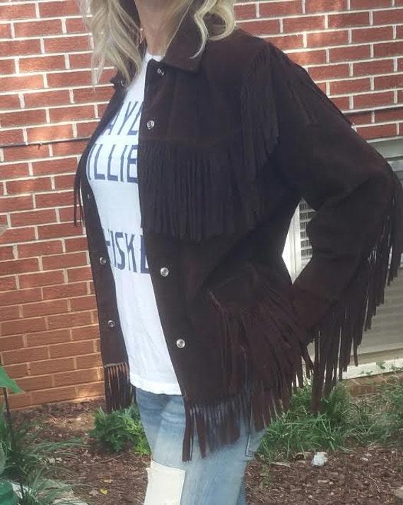 Vintage Brown Suede Fringe Jacket - Vintage Suede… - image 1