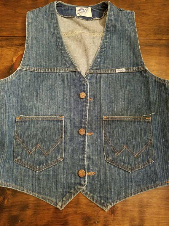 Vintage WRANGLER Denim Vest - Denim Vest - Blue Je