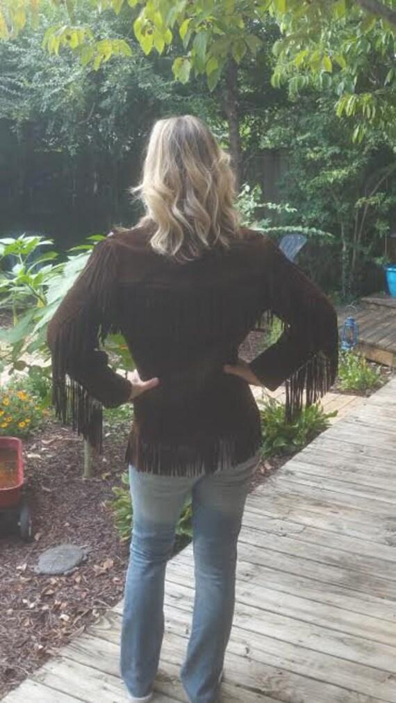 Vintage Brown Suede Fringe Jacket - Vintage Suede… - image 4