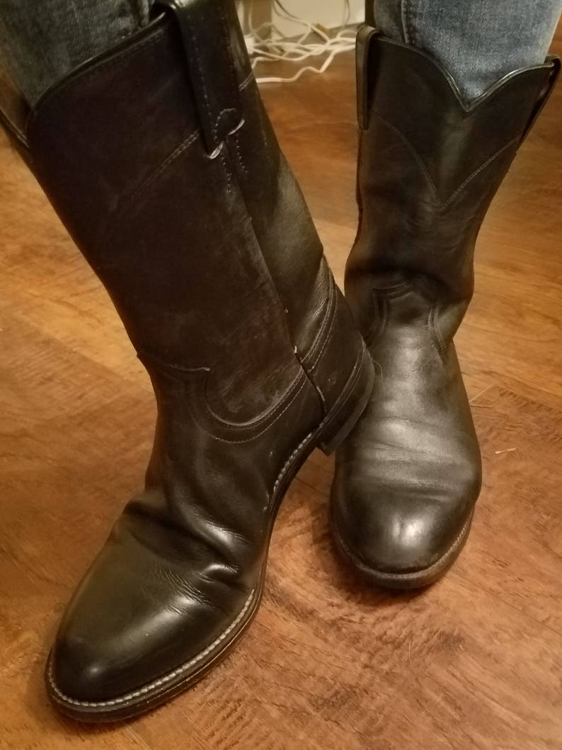 bef683aad8ea9 Mens Vintage Leather Black Cowboy Boots - Mens Cowboy Boots - Cowboy Boots  - Boots - Mens Boots - Justin Cowboy Boots - Size 8 cowboy boots