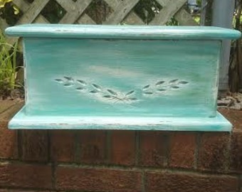 Turquoise chest - Wood Chest - Turquoise  Box - Wedding Card Holder - Rustic - Photo Box - Shabby Chic card box - Wedding Card Trunk