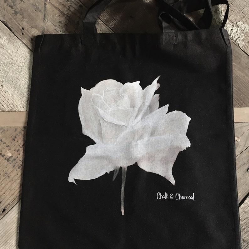 Chalk & Charcoal Rose Tote Bag image 0