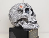 Halloween Trophy Skull w Embossed Design Scariest Costume Contest Best Costume Dia De Los Muertos Dead Pool Trophy Skeleton Halloween Decor