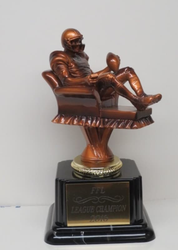 """FANTASY FOOTBALL TROPHY 6/"""" ARMCHAIR QB SHIPS IN 1 DAY!! FREE ENGRAVING"""