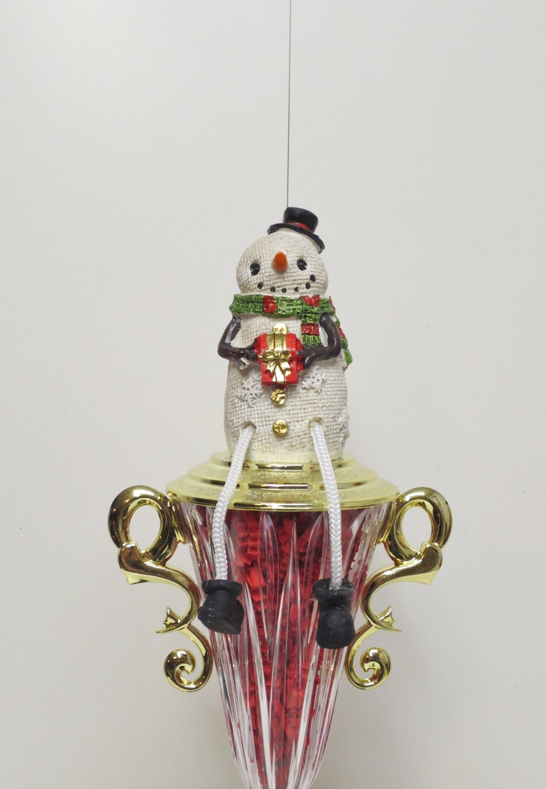 Ugliest Ugly Sweater Contest Trophy Christmas Snowman w Dangle Leg Holiday Decor Christmas Decor Kids Gingerbread Cookie Bake Off Winner