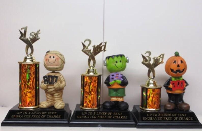 Halloween Trophy Trophies Set of THREE Trophy Pumpkin Carving Contest Best Costume Winner Trunk or Treat Halloween Decor Scariest Costume