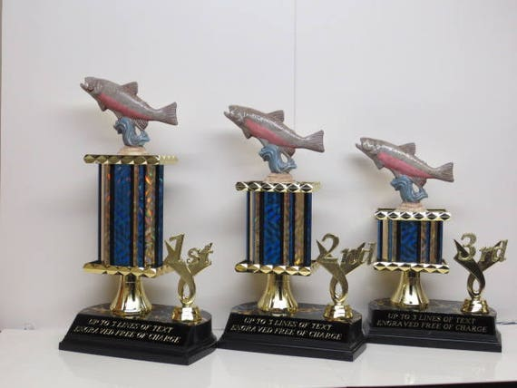 Fishing Derby Trophy Trophies Award Hand Painted Fish Salmon Trout  Personalized Custom Trophy Trophies Biggest Fish Competition FREE ENGRAVE