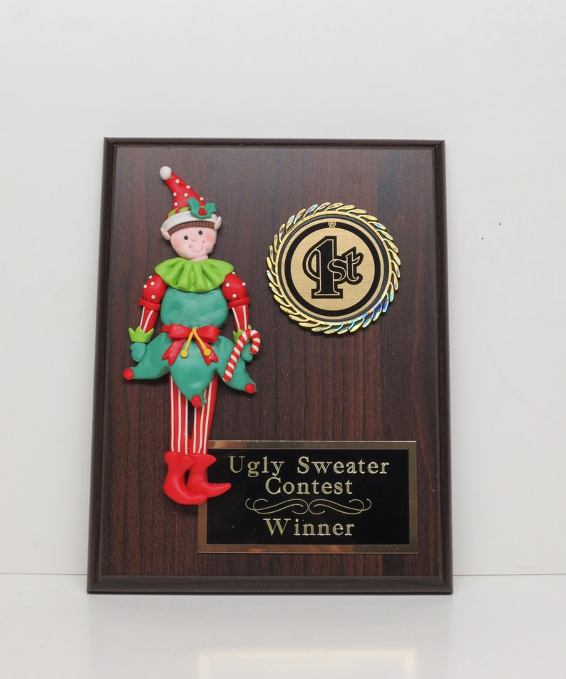 Ugliest Ugly Sweater Trophy Plaque Elf Best Decorated Door Office House Gingerbread Cookie Bake Off Contest Holiday Christmas Decor