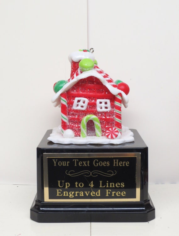 Ugly Sweater Trophy Contest Award Winner Christmas Holiday Party Cookie Gingerbread House Cookie Bake Off Trophy Christmas Decor