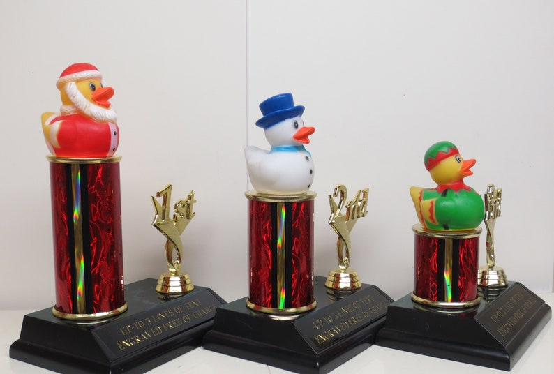 Ugly Sweater Contest Trophy Rubber Duck Christmas Holiday Decor Christmas Decor Kids Gingerbread Cookie Bake Off Winner Santa Elf Snowman